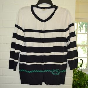 Navy with Green Nautical Striped Cardigan